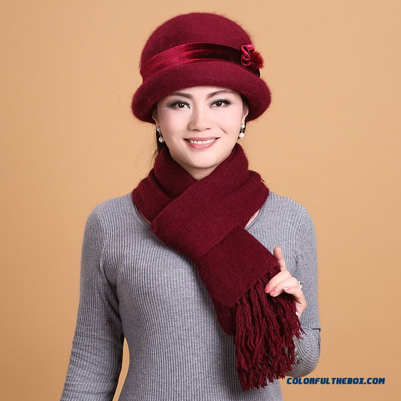 454f1c0e High Quality Fashionable Winter Hats For Old Women Warm Knitted Hat Scarf  Set On Sale