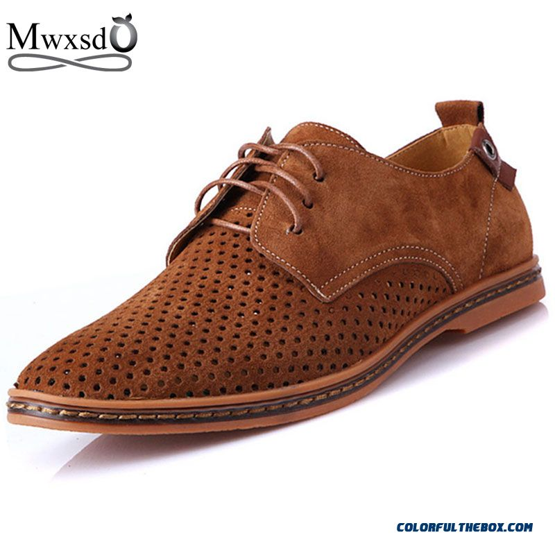 High Quality Flat Shoes Summer Casual Men Pierced Shoes Flats Genuine Leather Shoes Breathing Oxford Big Size Shoes