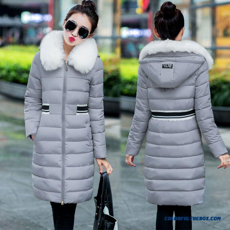 High Quality Hooded Coat Medium Length Thicken Ovo Collar Large Grey White