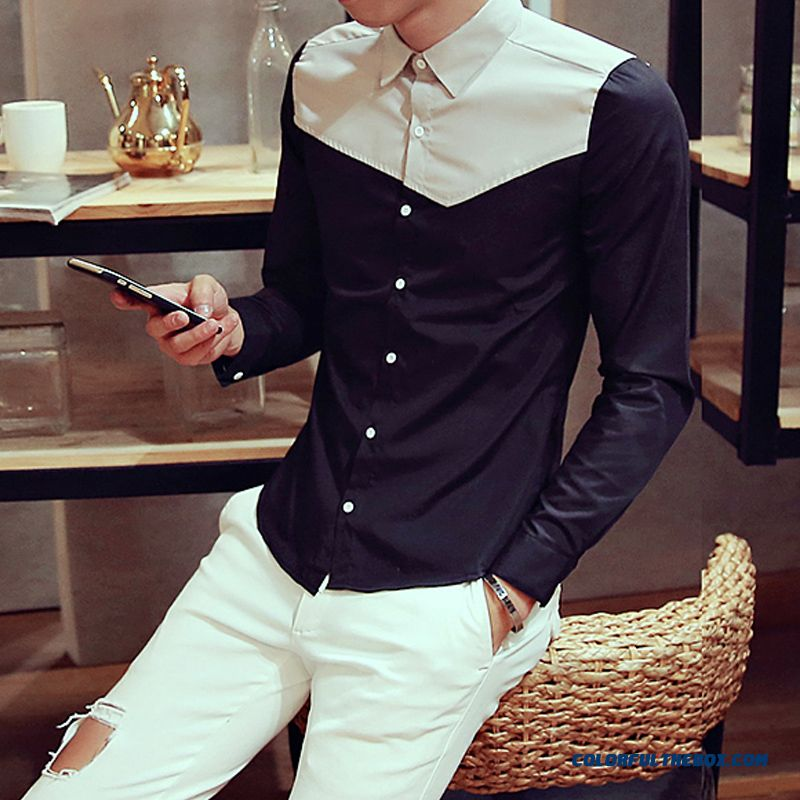 High Quality Men's Casual Long-sleeved Shirt Slim Handsome Special Offer