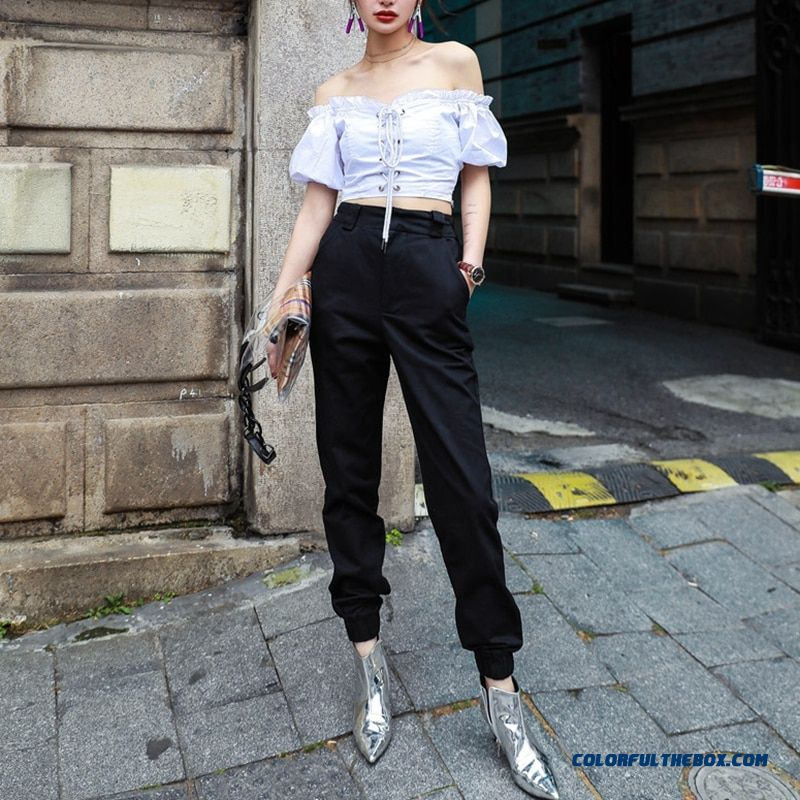 High Waist Camo Black Pants Joggers Women Capris Chain Cargo Pants Trousers Women Camouflage Korean Fashion - more images 1