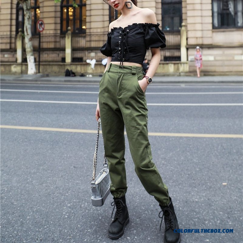 High Waist Camo Black Pants Joggers Women Capris Chain Cargo Pants Trousers Women Camouflage Korean Fashion - more images 2
