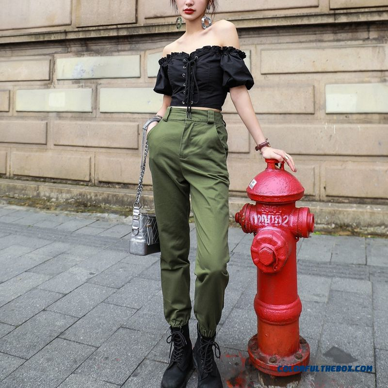 High Waist Camo Black Pants Joggers Women Capris Chain Cargo Pants Trousers Women Camouflage Korean Fashion - more images 4