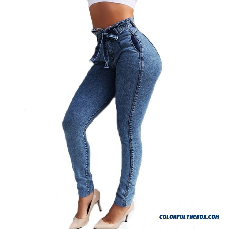 High Waist Jeans For Women Slim Stretch Denim Jean Bodycon Tassel Belt Bandage Skinny Push Up Jeans Woman - more images 3