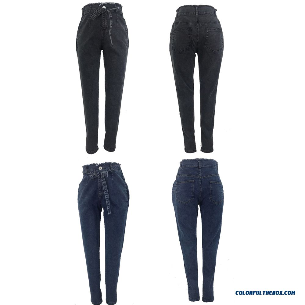 High Waist Jeans For Women Slim Stretch Denim Jean Bodycon Tassel Belt Bandage Skinny Push Up Jeans Woman - more images 4