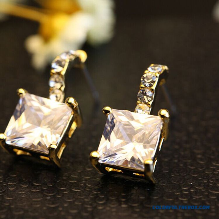 High-end Ear Jewelry Four-square Top 3a Zircon Women Stud Earrings Jewelry