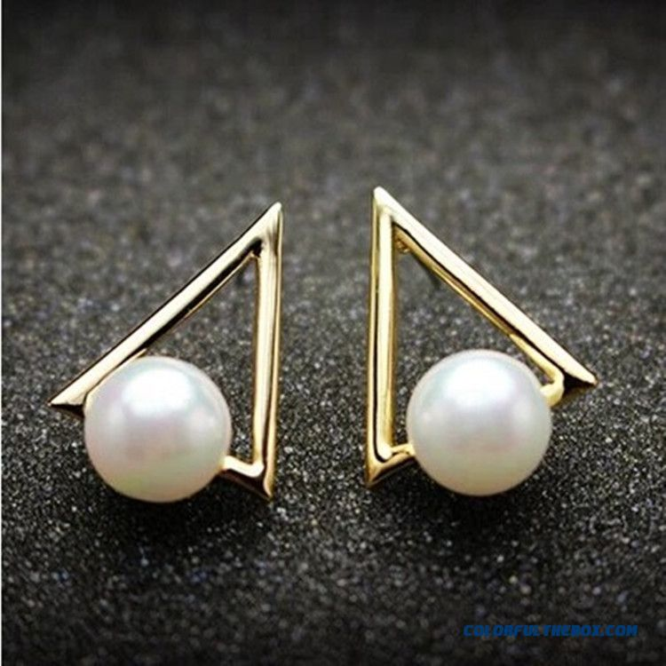 High-end Jewelry Pearl Earrings Geometric Triangle Women's Earrings