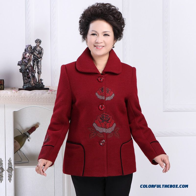 High-grade Coats Middle-aged Women Large Size Jubilant Woolen Coat