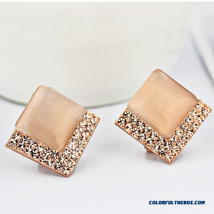 High-grade Prevent Allergy Simple Square Fine Jewelry Women Fashion Earrings - more images 1