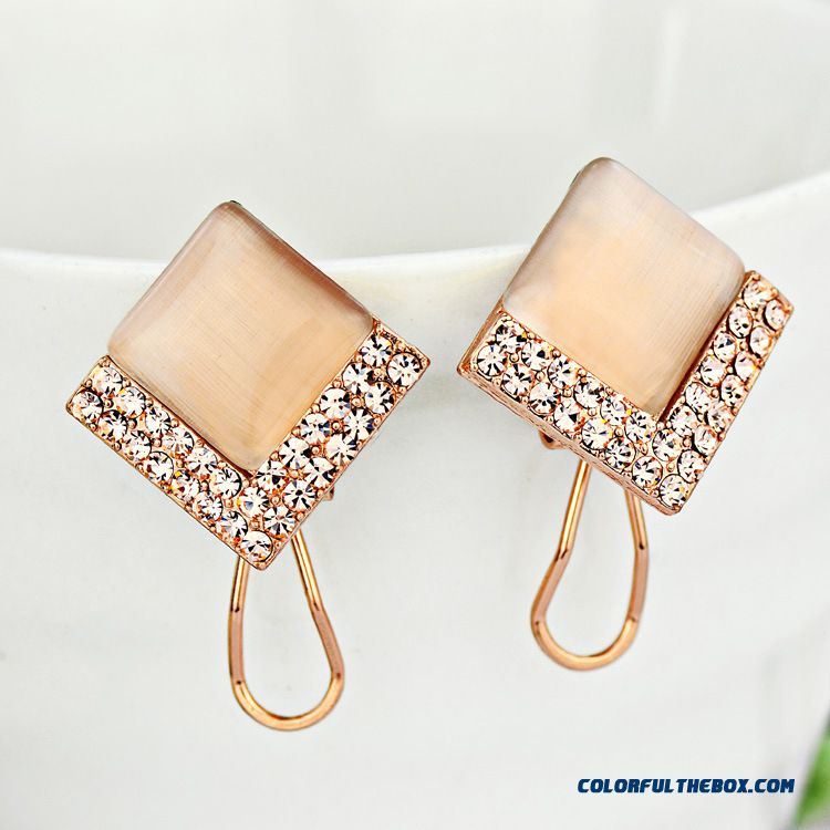 High-grade Prevent Allergy Simple Square Fine Jewelry Women Fashion Earrings - more images 3