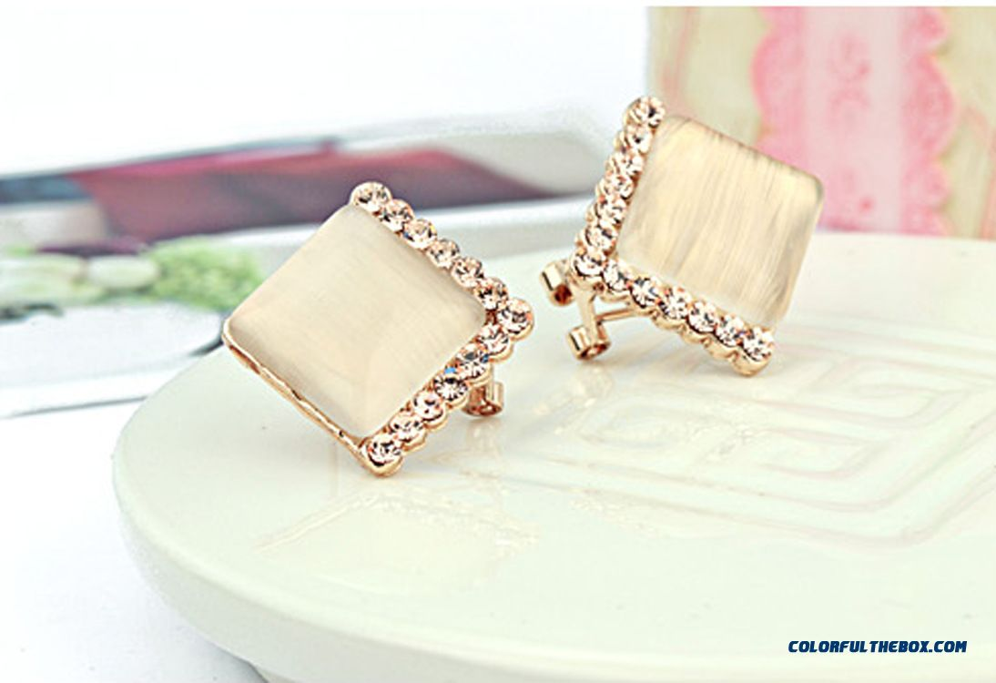 High-grade Prevent Allergy Simple Square Fine Jewelry Women Fashion Earrings - more images 4