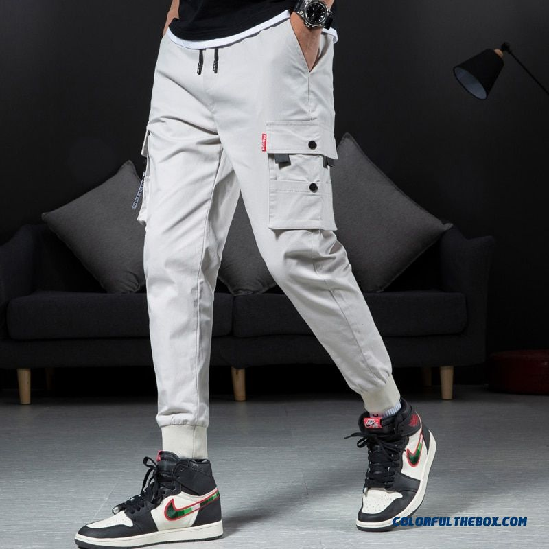 Hip Hop Men's Pants High Street Kpop Casual Cargo Pants With Many Pockets Joggers Streetwear Trousers