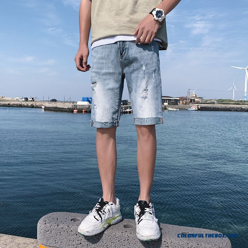 Hole Student Blue Loose Men's Europe Skinny Leisure Shorts Trend Short Pants Summer