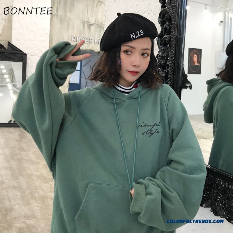 Hoodies Women Winter Elegant Trendy Leisure Hooded Solid Womens Pullover Students Letter Printed Long Sleeve Ladies Sweatshirts