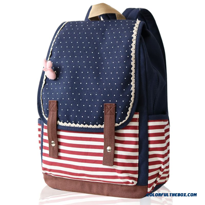 Horizontal Stripes Wavelet Point Shoulder Bags Woman Canvas Schoolbags Backpack Girls