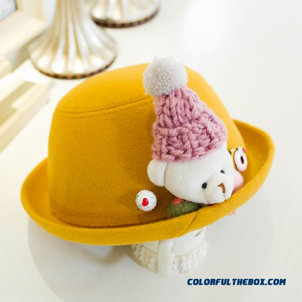 Hot Accessories Girls Lovely Kids Top Hat Bear Jazz Hat Girls Wool Hats 4 Colors