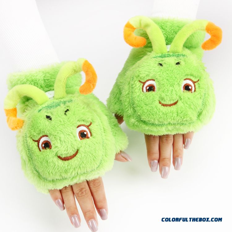 Hot Cute Cartoon Thicken Girl Gloves Plush Clamshell Half Finger Mittens Winter Women Accessories