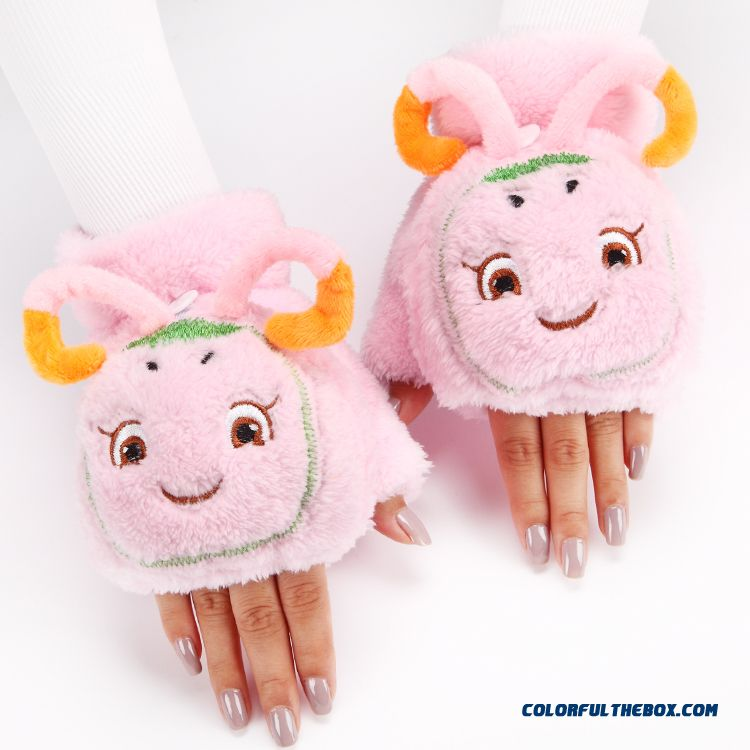 Hot Cute Cartoon Thicken Girl Gloves Plush Clamshell Half Finger Mittens Winter Women Accessories - more images 2
