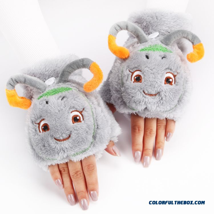 Hot Cute Cartoon Thicken Girl Gloves Plush Clamshell Half Finger Mittens Winter Women Accessories - more images 4