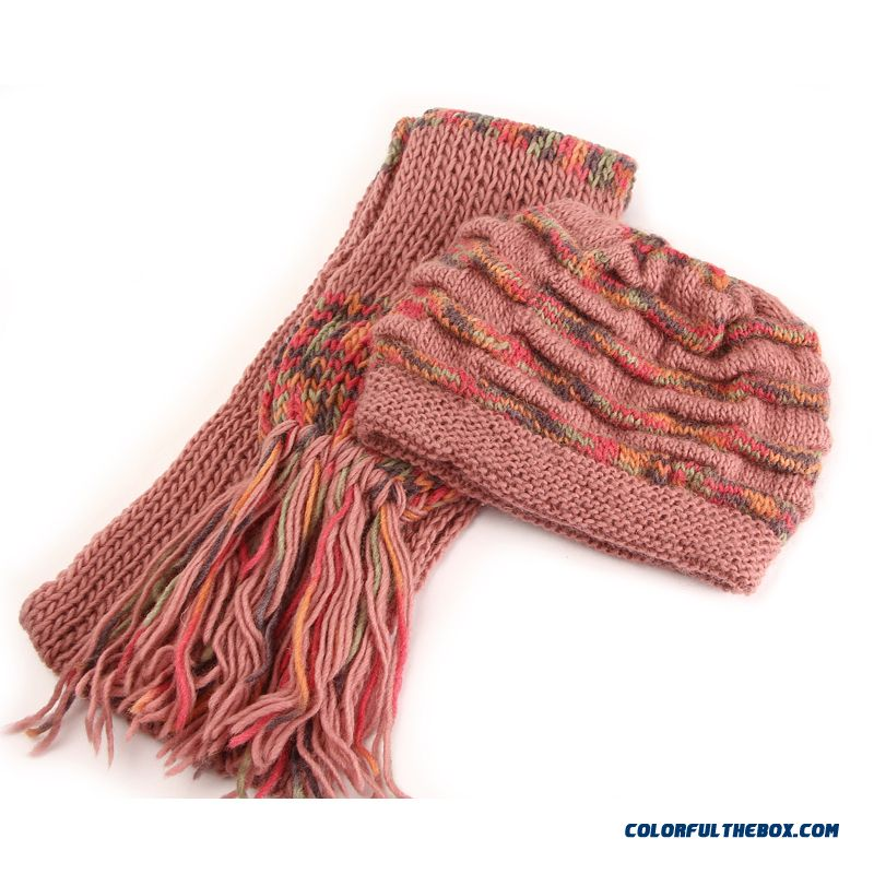 Hot Elegant Warm Middle-aged Ladies Hat Handmade Knitted Hat With Same Section Scarf For Old Women