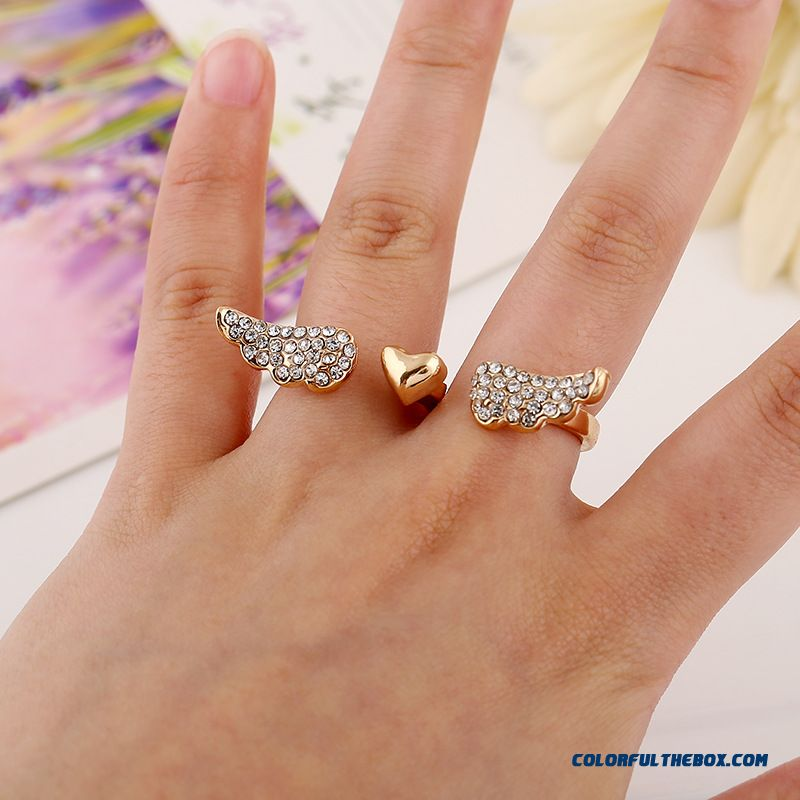 Hot Fashion Set With Diamonds Love Wings Bicyclic Opening Ring Jewelry Special For Women