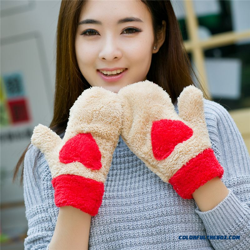 Hot Faux Cashmere Love Gloves Lovely Thickening Warm Full Finger Gloves Girls Women Accessories