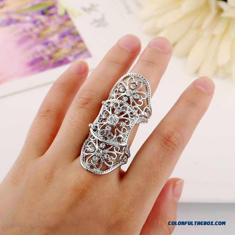 Hot Jewelry Personality Exaggerated Hollow Diamond Flowers Joint Women Ring New - more images 1