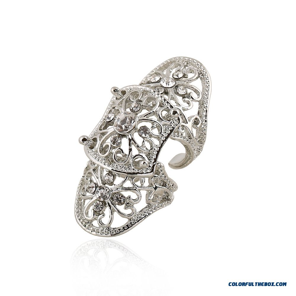 Hot Jewelry Personality Exaggerated Hollow Diamond Flowers Joint Women Ring New - more images 2