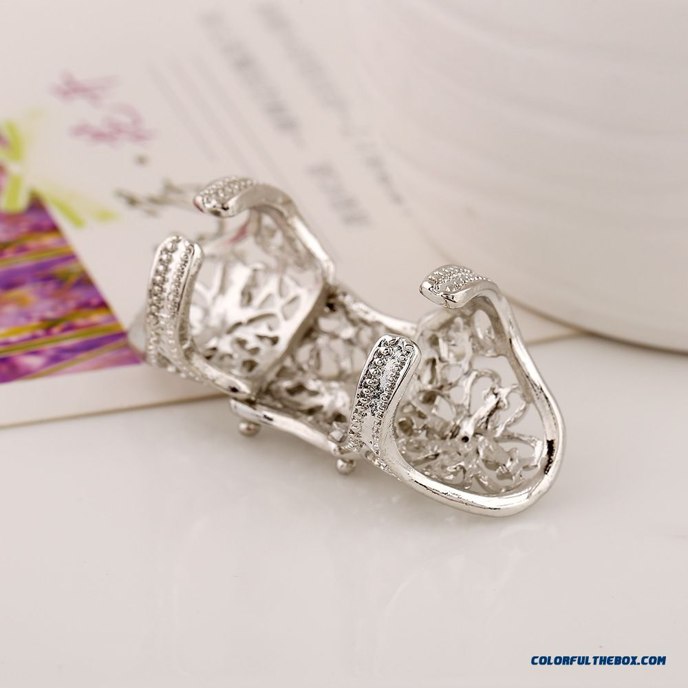 Hot Jewelry Personality Exaggerated Hollow Diamond Flowers Joint Women Ring New - more images 3