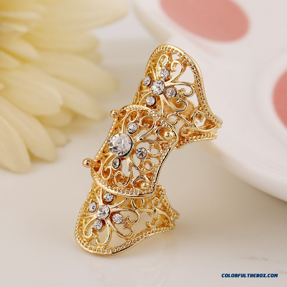 Hot Jewelry Personality Exaggerated Hollow Diamond Flowers Joint Women Ring New - more images 4