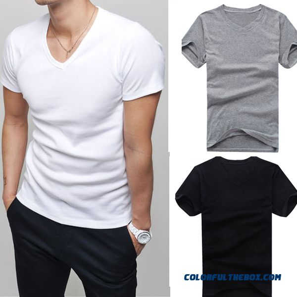Hot Men Clothes T Shirt High-elastic Cotton Men's Short Sleeve V Neck Tight Shirt Male T-shirt Teefree Shipping # L034808