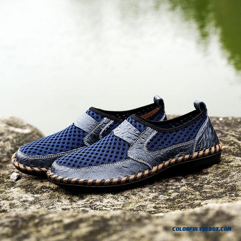 Hot Men Shoes Genuine Leather Shoes Breathable Matching Men Flats Casual Male Summer Mesh Shoes Cheap Flat Shoes - more images 1