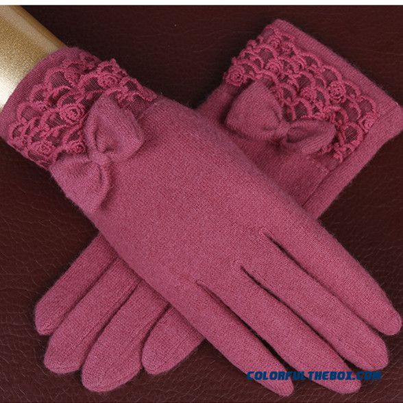 Hot Middle-aged Women Bowknot Wool Gloves Keep Warm Mittens Winter Accessories Free Shipping