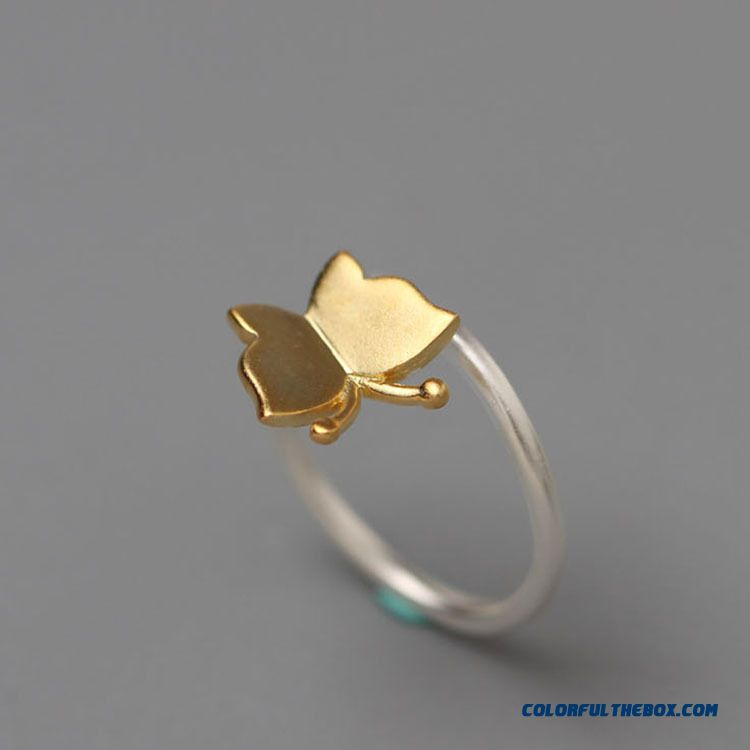 Hot New 925 Sterling Silver Jewelry And Gold Butterfly Women Personality Opening Ring