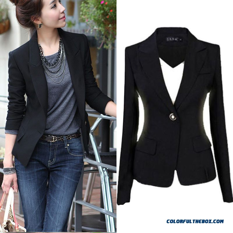 Hot Plus Ladies Women One Solid Button Slim Casual Business Blazer Suit Jacket Coat Outwear Size S-3xl Black Color