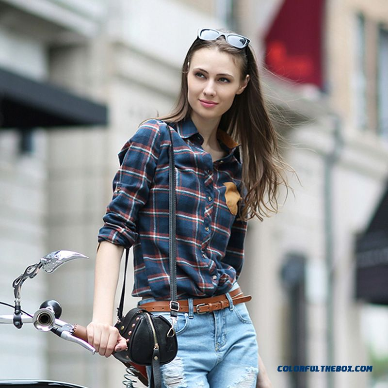 Hot Sale!!! Classic Vogue Design England Style Hit Color Stitching Slim And Thin Long-sleeved Plaid Shirt Women