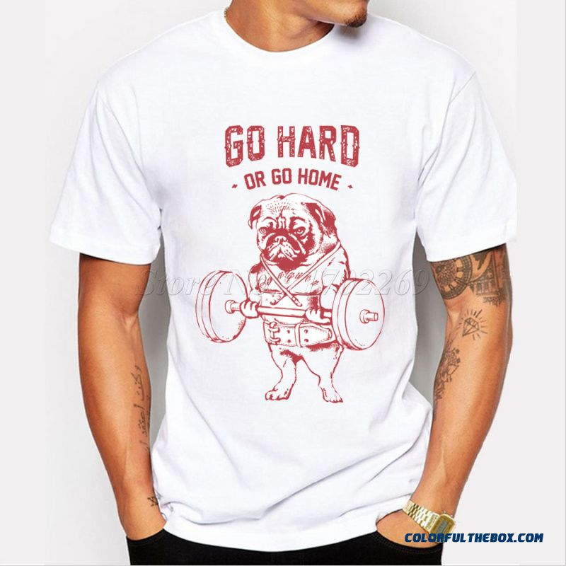 Hot Sale Fashion Pug Squat Training Hard Design Mne's Creative Printed T-shirt Short Sleeve Male Funny Tops Hipster Casual Tee
