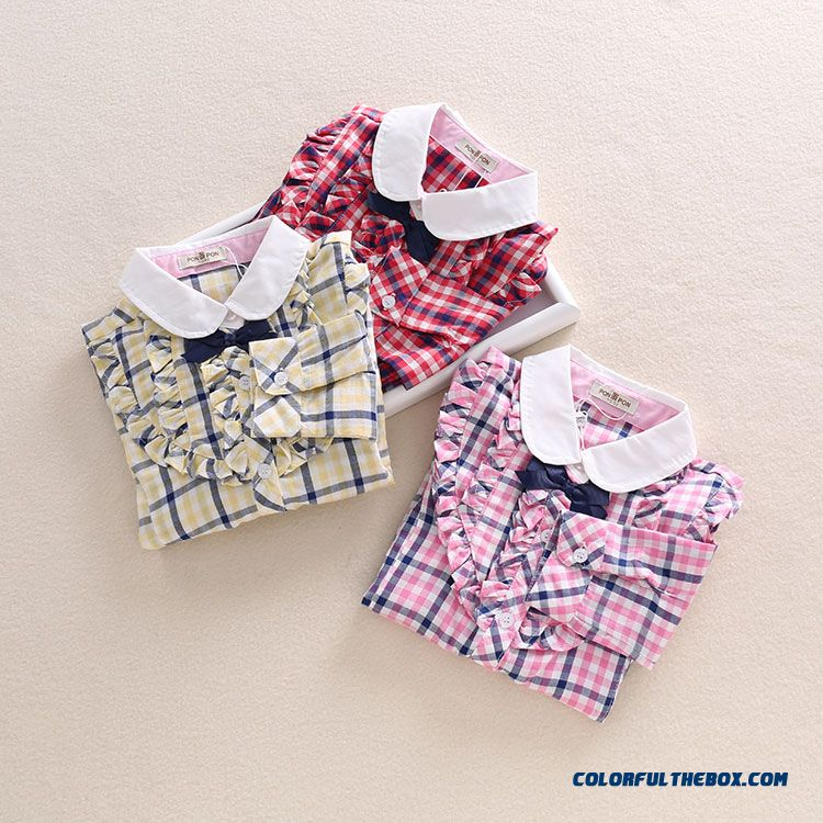 Hot Sale!!! Kids Lapel Plaid Long-sleeved Shirt Baby Bottoming Shirt For Girls