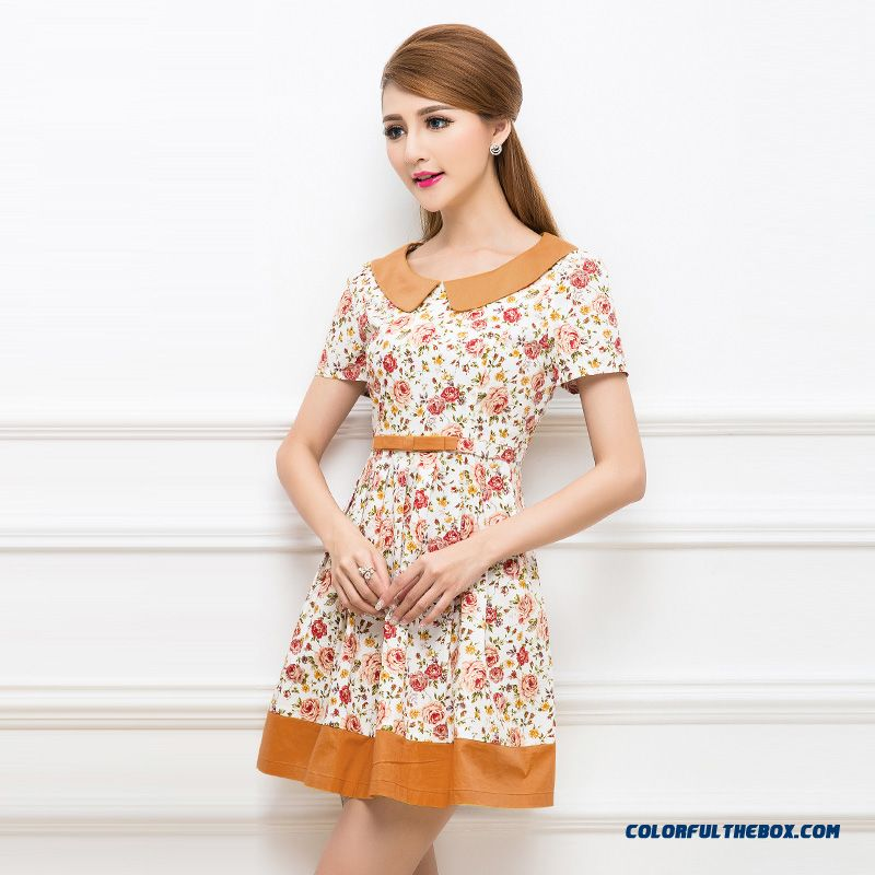 Hot Sale! New Doll Collar Waist Slim Thin Floral Dress Free Shippin For Womeng