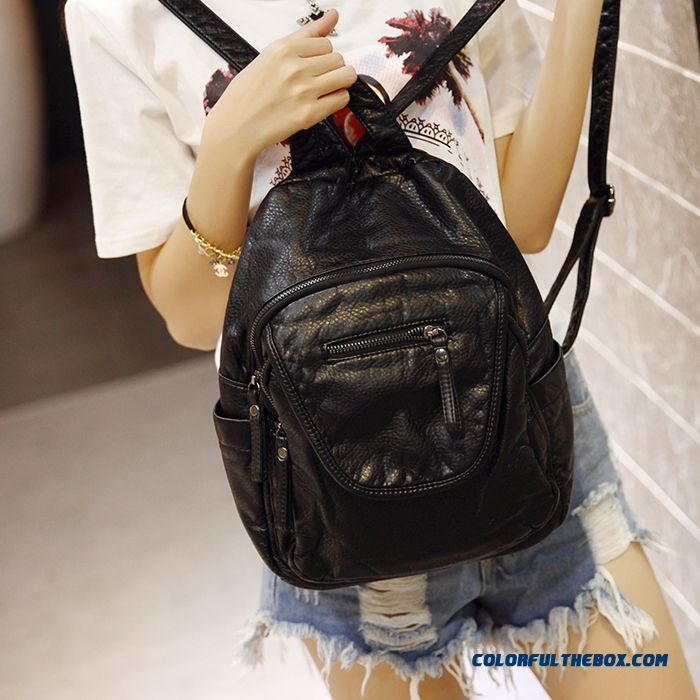 Hot Sale New Washed Leather Woman Fashion Soft Leather Women Bag Backpack Women Schoolbags