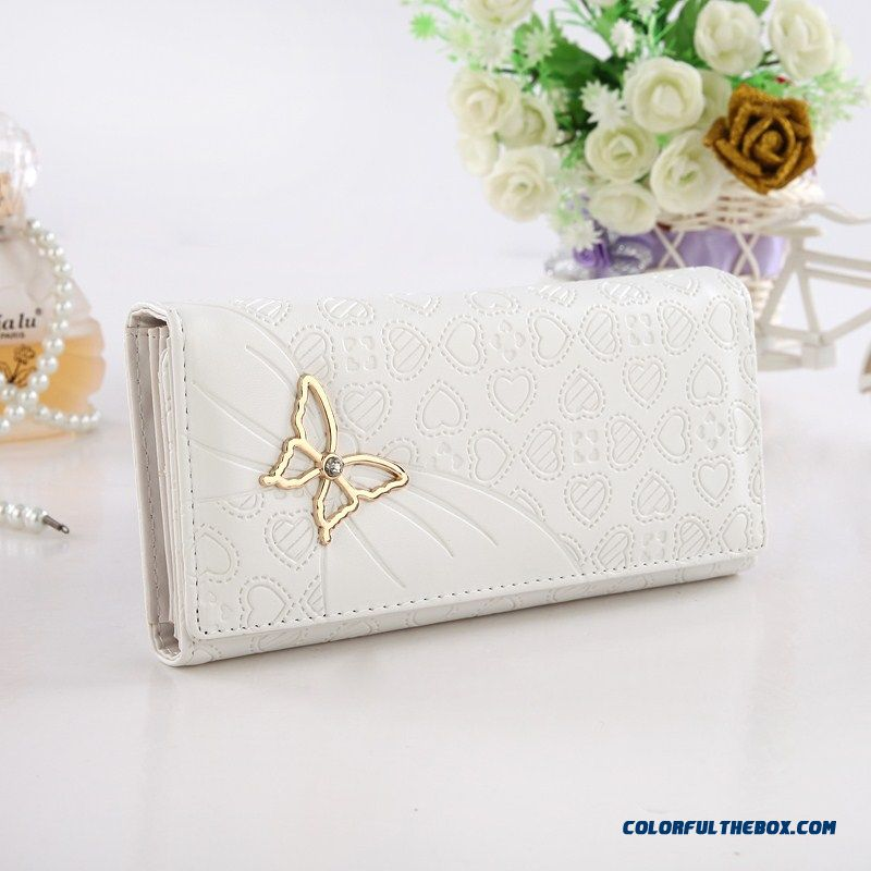 Hot Sale Rhinestone Zipper Small Clutch Women Wallets Long With Metal Butterfly