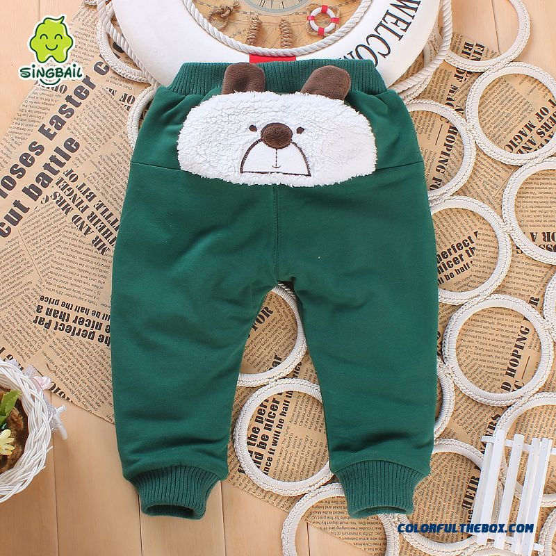Hot Sale Singbail Brand Baby Cotton Pants Winter Boys Kids Pants Green