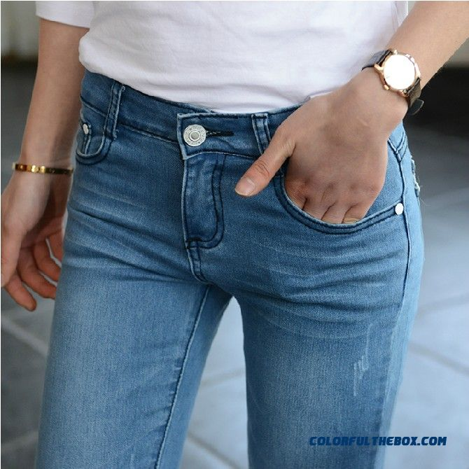 Hot Sale Spring Slim Thin Wome's Jeans Pencil Pants Stretch Young