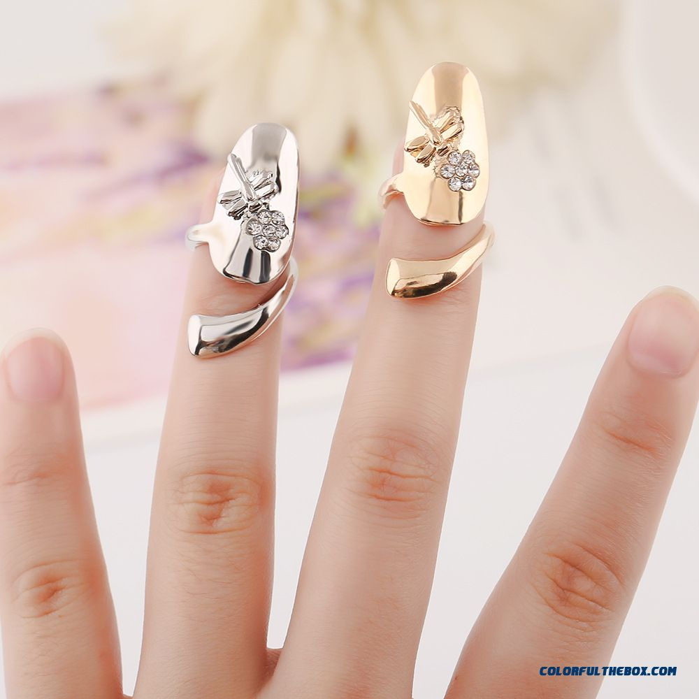 Hot Sale!!! Women Jewelry Personalized Dragonfly Flowers Flash Diamond Nail Ring