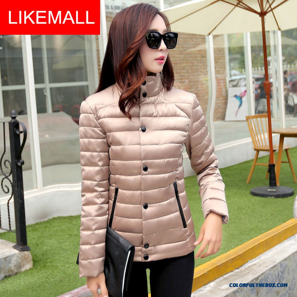 Hot Selling Fashion Winter Women Coats Plus Size Short Slim Elegant Apricot Silver