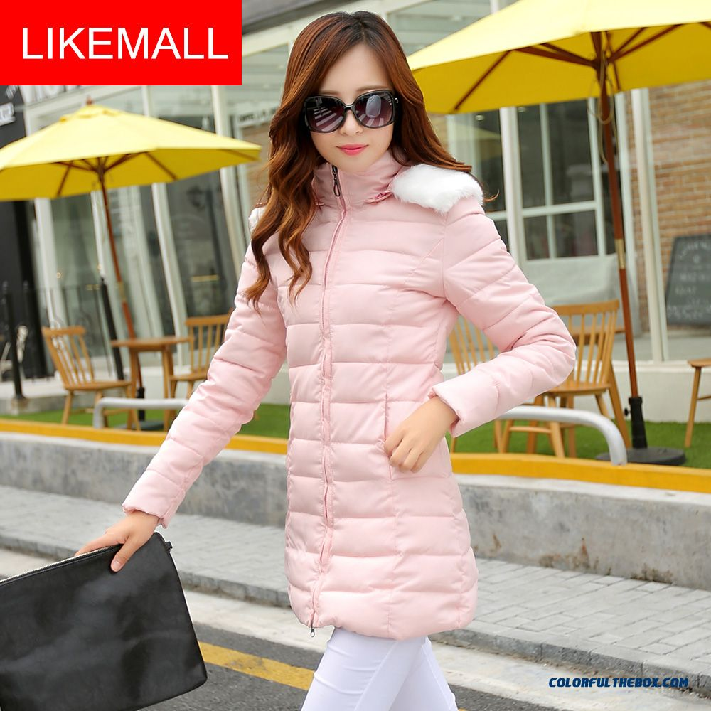Hot Selling Fashion Winter Women Hooded Coats Fur Collar Pink Plus Size Medium Style
