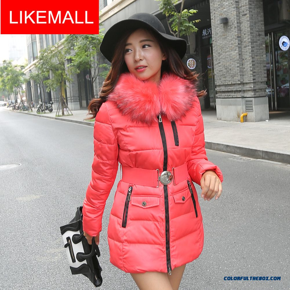 Hot Selling Fashion Winter Women Hooded Coats Slim Thicken Red Ovo Collar Warm