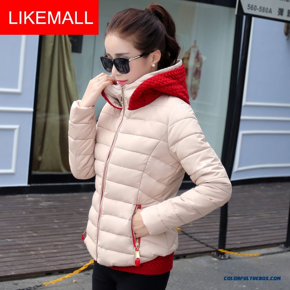 Hot Selling Fashion Winter Women Hooded Coats Wool Double Hat Thicken Sllim Short Apricot