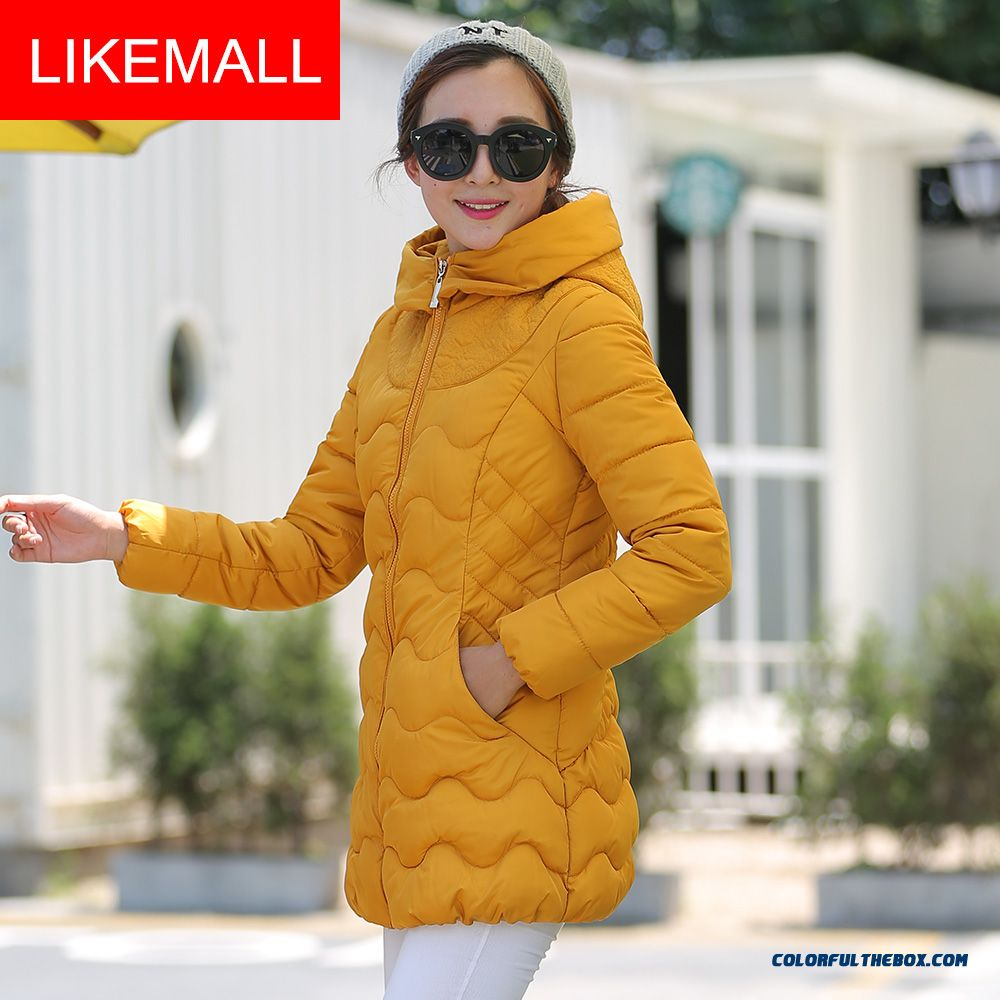 Hot Selling Fashion Winter Women Hooded Thicken Yellow Plus Size Free Shipping