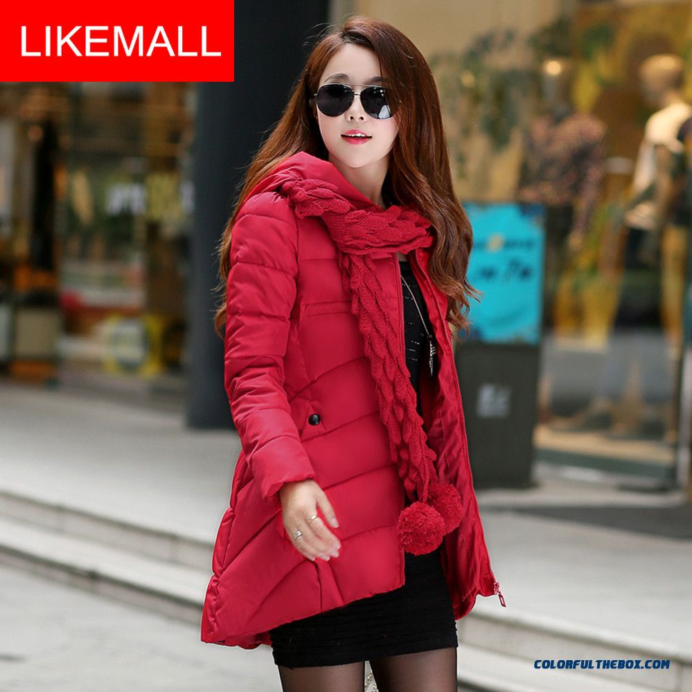 Hot Selling Fashion Women Hooded Coat With Wear A Scarf Hooded Slim Waist Red Medium Style Coat